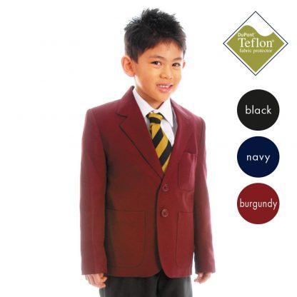 100% Polyester (Teflon Coated) Boys School Blazer: NO zip access for embroidery CBZB01-CBZB02