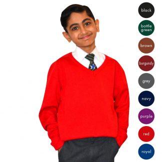 Kids Cotton Mix V-Neck Knitted Jumper CJUK05