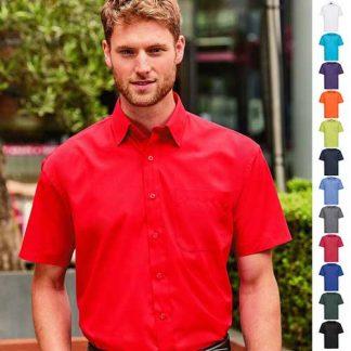 110g 65/35PC Mens Easy Care Poplin Shirt Short-Sleeve - JSHA935-main2