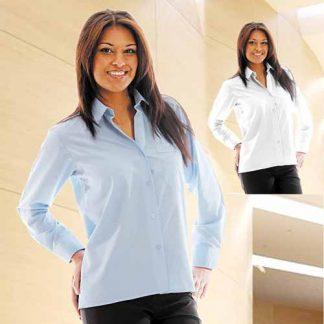 110gsm 65/35PC Ladies Classic Poplin Shirt Long Sleeve - WBLL09
