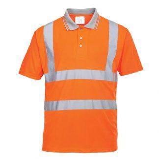 175gsm 100% Polyester Hi-Vis Short Sleeved Polo Shirt GO/RT - WPOA22